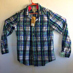 Blue Plaid long sleeve button down men shirt Large